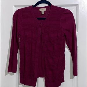 3/4 length sleeve Loft Outlet Cardigan Plum